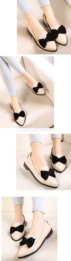 European Style Bowknot Design Pointed Toe Flats For Women, Shop online for $22.40 Cheap Flats code 715883 - Eastclothes.com