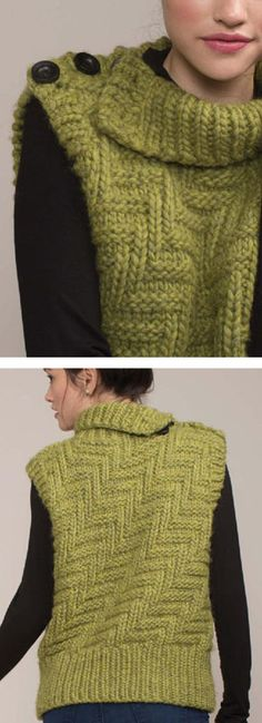 Free Lion Brand Knitting Pattern Level 1 Knit Vest Knitting