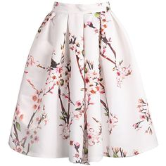 Floral Pleated White Skirt found on Polyvore