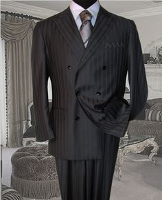 Italian Double Breasted Suits | ... UOMO CHARCOAL SUPER 150'S EXTRA FINE DOUBLE BREASTED SUIT HAND MADE