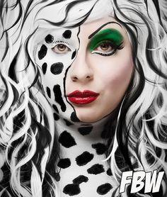 Cruella Devil makeup. Joanna Strange. Disney Villain makeup. Geisha wigs. Disney. 101 Dalmations.