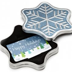 Gift Card in a Snowflake Tin (Happy Holidays Card Design): Gift Cards