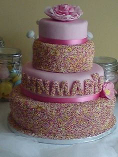 For my sisters 40th who, as a kid, loved sponge cake (pound cake) and hundreds and thousands