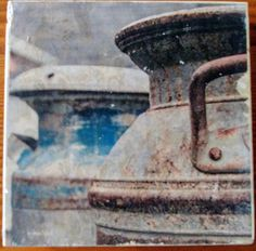Blue and Brown Vintage Milk Jugs, Fine Art Photography Manually Transferred to a Travertine Stone Tile, Coaster with Cork Backing to Protect Milk Jugs, Custom Coasters, Stone Tiles, Travertine, Fine Art Photography, Decorating Your Home, Vintage Items, Great Gifts, Brown