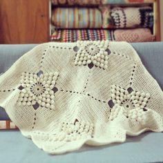ByHaafner, crochet, vintage pattern, popcorn stitch, crochet blanket Tutorial༺✿Teresa Restegui http://www.pinterest.com/teretegui/✿༻