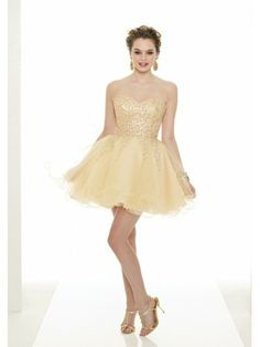 Organza Strapless Sweetheart Neckline Beaded Cocktail Dress