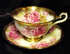 Vintage Royal Albert Tea Cup & Saucer ~ Pink English Roses & Heavy from perfectlyposh on Ruby Lane