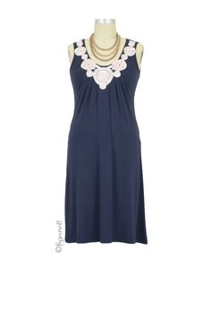 Zahra Bamboo Applique Nursing Dress in Eclipse by Mothers en vogue with free shipping