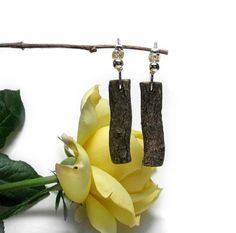 Unique Magnolia Rustic Twig Wooden Earrings by Tanja by tanjasova,