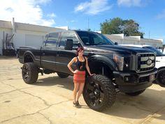 These Girls Love Diesel Trucks. Read more. Toyota Trucks, Lifted Ford Trucks, Pickup Trucks, Diesel Trucks, Monster Truck Birthday, Monster Trucks, Truck Tattoo, Buy Tires, Trucks And Girls