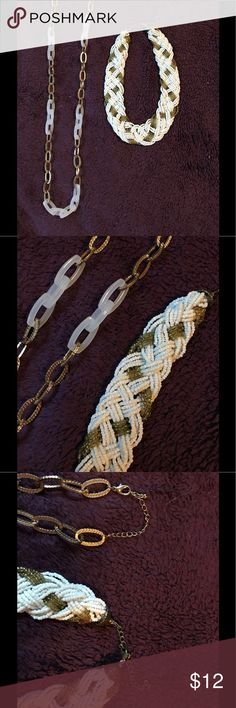 Gold and white necklaces Plastic and gold chain and white and gold braided beads. Maurices Jewelry Necklaces