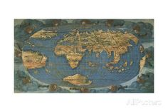 World Map on Oval Projection, Created in Florence Circa 1508 Giclee Print by Francesco Rosselli at AllPosters.com