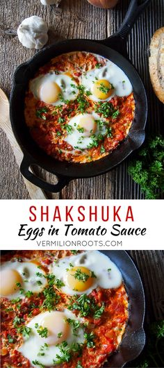 Shakshuka (Eggs in Tomato Sauce)   vermilionroots.com. This egg and tomato dish of North African origin is a quick and easy way to get a hearty meal on the breakfast or brunch table.