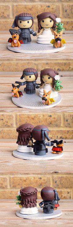 Solid Snake Metal Gear groom and Game of Thrones Daenerys Targaryen wedding cake topper by Genefy Playground https://www.facebook.com/genefyplayground