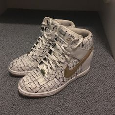 Nike sky high Paris fashion week dunks sneakers These limited edition Nike sky high dunks are from the city fashion week line they are Paris they are sold out they other ones are selling on eBay for $599. Shoes are in excellent used 3-4 times. Shoes are sz.7 Nike Shoes Sneakers