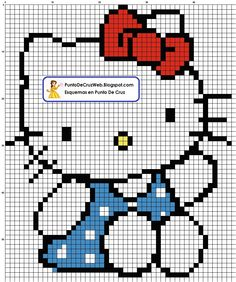 Cross Stitch For Kids, Cross Stitch Baby, Cross Stitch Charts, Cross Stitch Designs, Cross Stitch Patterns, Hello Kitty Crochet, Hello Kitty Dress, Knitting Charts, Baby Knitting