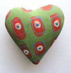 Green and red Pillow Heart  Ceramic Wall Sculpture via Etsy
