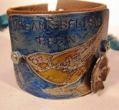 womans cuff bracelet blue bird flower by mollyheltsleydesigns, $31.00