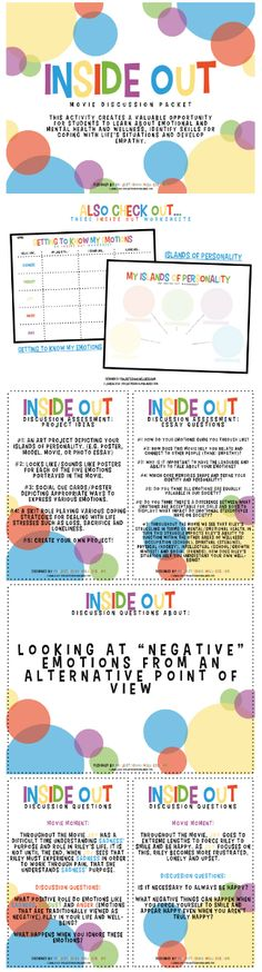 "Discussion Questions (Inside & Out of Mental Health, Health Lesson Plans) How to use ""Inside Out"" the movie to educate and inform students about the importance of sharing their emotions.The Inside The Inside may refer to: Elementary School Counseling, School Social Work, School Counselor, School Teacher, Health Lesson Plans, Health Lessons, Counseling Activities, Therapy Activities, Play Therapy"