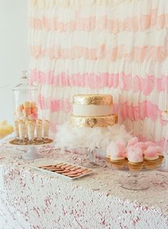 Girly dessert table with dip-dyed feather backdrop