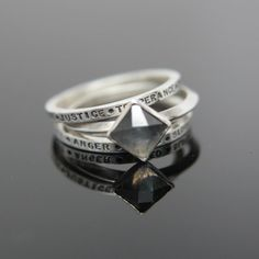 Sin/Virtue Rings. Faceted Labradorite Sterling Silver Rings Set of Three Stacking Rings.