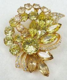 Eisenberg Ice Yellow Rhinestone Brooch - Garden Party Collection Vintage Jewelry #VintageJewelry
