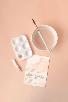 Watercoloured Letterpress Invites in a soft peachy pink | via http://www.minted.com/julep/2013/04/01/diy-watercolored-letterpress-invites/#comment-32491
