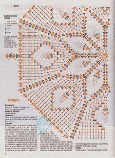 Crochet and arts: Interesting tablecloth Filet Crochet, Crochet Doily Diagram, Crochet Doily Patterns, Crochet Chart, Crochet Motif, Crochet Designs, Crochet Coaster, Crochet Books, Crochet Home