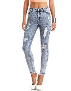 """Refuge """"Hi-Rise Skinny"""" Destroyed Acid Wash Jeans from Charlotte Russe"""