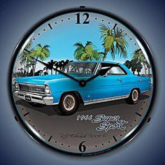 Unique Clock Works - 1966 Nova (blue), Wall Clock Automobile Art, $124.95 (http://uniqueclockworks.com/backlit-clocks/car-art-clocks/1966-nova-blue-wall-clock-automobile-art/)