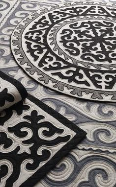 Shyrdak felt rugs - an age-old tradition of the nomadic Kyrgyz people. The interlocking patterns and distinctive borders of Shyrdak combine to create a rich tapestry. The designs incorporate images of sacred myths and symbols, with colours reflecting the balance in nature and the cyclical rhythm of the nomad's world.