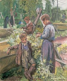 Hop-Picking Artwork by Dame Laura Knight Oil Painting & Art Prints on canvas for sale - PaintingSTAR.com Art Online Store