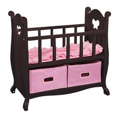 Wood Doll Crib, Doll Furniture-Leaps and Bounds Kids Toys For Girls, Kids Toys, Baby Toys, Accessoires Barbie, Baby Doll Nursery, Baby Alive Dolls, Baby Doll Accessories, Silicone Baby Dolls, Doll Beds