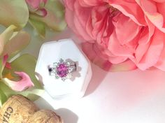 Pink Sapphire & Diamonds in 18k white gold