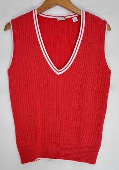 IZOD Women's C-Flex Sweater Vest Cable Knit Salmon Sz Med EUC