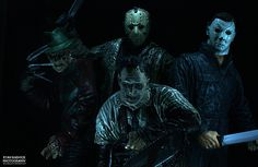 Freddy Kruger,Jason Voorhees, Leather Face, & Michael Myers