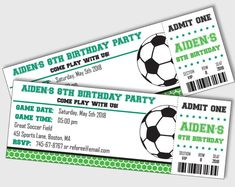 Soccer Ticket Invitation PRINTABLE Green Soccer Birthday Party Invitation  INSTANT DOWNLOAD with Editable Text. Invitaciones De FútbolInvitaciones ... 5638e6c8c7ad0