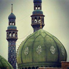 Dome and minarets of Jamkaran Mosque in Qom, Iran