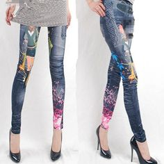 Punk Rock Sexy Jegging Look Legging Tattoo Denim Stretch Pants Tights Womens New