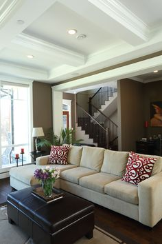 Neutral living room with a pop of red Vancouver, Custom Built Homes, Sofa, Couch, Living Rooms, Neutral, Dark, Building, Modern