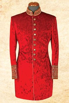 #Maroon sharp #suede sherwani with bandhgala-IW612