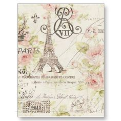 paris eiffel tower floral vintage birthday party x invitation card Vintage Paris, Shabby Vintage, Vintage Floral, Shabby Chic, Vintage Decor, Rustic Decor, Boho Chic, Vintage Birthday Parties, Paris Birthday Parties