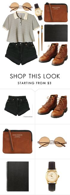 """Untitled"" by hanaglatison ❤ liked on Polyvore featuring Levi's, Acne Studios, Muji and American Apparel"