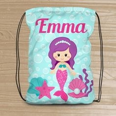 Personalized Mermaid Drawstring Backpack - Beach Backpack for Girls - Kids' Beach Fabric Bag with Mermaid - Beach Drawstring Backpack Beach Fabric, Mermaid Theme Birthday, Mermaid Beach, Little Mermaid Parties, Spa Party, Girl Backpacks, Kids Bags, Drawstring Backpack, Beach Bags
