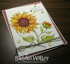 The Buzz: Friend card, featuring Sunflower Power, a digital stamp from #powerpoppy. Image was watercolored using Zig Clean Color Real Brush pens. Details on my blog. Click the pic!
