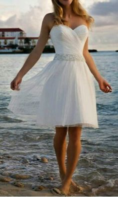Short and sweet beach wedding gown - Even though it's a wedding gown, I love it as a dress.