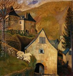 """Mountain Church, Larrau"" By Dora Carrington, from Hereford, Herefordshire, UK - - oil on canvas - Illustrations, Illustration Art, Dora Carrington, Bloomsbury Group, Web Gallery, Hereford, Impressionism, Les Oeuvres, Landscape Paintings"