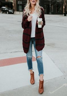 Burgundy-Black Striped Print Pockets Long Sleeve Slouchy Sweater