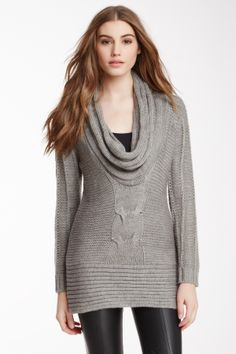 Cable Knit Cowl Sweater Tunic