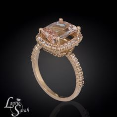 Shop for on Etsy, the place to express your creativity through the buying and selling of handmade and vintage goods. Champagne Ring, Jewelry Box, Unique Jewelry, Jewlery, Morganite Ring, Halo Rings, White Sapphire, Rose Gold, Engagement Rings
